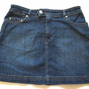 Lacoste Mini Jean Skirt Cotton Dark Wash Blue